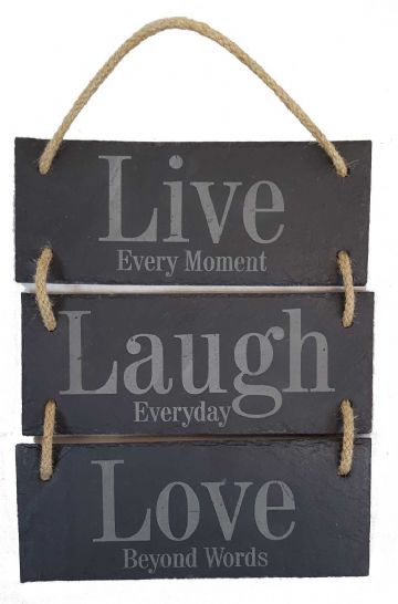 Live, Laugh, Love - 3 Part Hanging Slate Sign